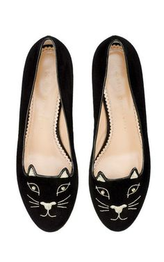 They're Back! Kitty Studs Flat In Black by Charlotte Olympia for Preorder on Moda Operandi