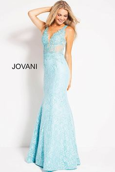 84999628ac Blue lace mermaid prom dress by Jovani  lacepromdress  bluepromdress  Mermaid Gown