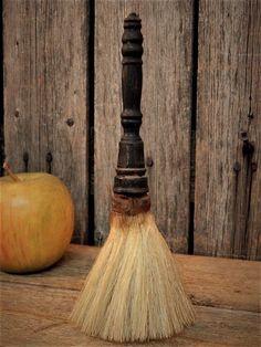 Rare Early Antique Turned Wood Horse Hair Barber Shop Brush AAFA #NaivePrimitive