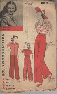 1940's Hollywood Pattern 1372 - Blouse & Side Button Pants - The side buttons are what catch my eye on these pants... Pants were quite the audacious article of clothing for women in the 1940s, and I think they wore them well.