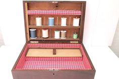 Wooden Sewing Box by Ziprinho. Made in by CreekLifeTreasures, $78.00