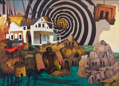 corey sewelson, painting, nature, mixed media, narrative, environment, abstraction, landscape, surreal, collage, upper playground