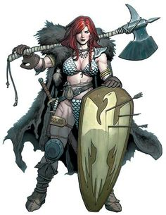 Religion of Red Sonja (Sonja) Fantasy Female Warrior, Female Armor, Warrior Girl, Fantasy Girl, Fantasy Character Design, Character Concept, Character Inspiration, Character Art, Barbarian Woman