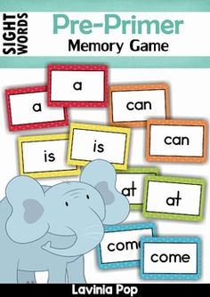 FREE Sight Words flash cards. Print 2 copies and play a memory game.