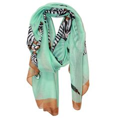 running zebras-mint green scarf