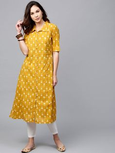 Buy Aks Mustard Yellow Printed A Line Kurta online in India at best price.Fabric : Cotton Length : Calf Length Sleeves : Short Sleeves Neck : Collar Fit : Fitted And Flared Wash Plain Kurti Designs, Printed Kurti Designs, Simple Kurti Designs, Churidar Designs, Kurta Designs Women, Latest Kurti Designs, Sleeves Designs For Dresses, Dress Neck Designs, A Line Kurti