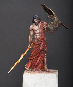 Zeus figure model, by arxo Greek Gods And Goddesses, Greek And Roman Mythology, Gott Tattoos, World Mythology, Greek Warrior, Mystique, Greek Art, Fantasy Miniatures, Warhammer Fantasy