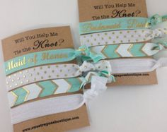 Will you help me tie the knot, bridesmaids gifts, will you be my bridesmaid, bachelorette party favors, hair tie favors, FOE hair ties