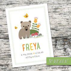 Doptavla/namntavla/födelsetavla för barn med en illustration föreställande en liten björn bredvid en sten omgiven av blommor, fjärilar och flugsvampar