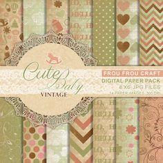 Mignon bébé Vintage numérique papier Pack par froufroucraft sur Etsy