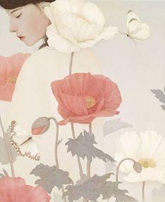 Jiwoon Pak (Korean illustrator and artist) - Girl with poppies