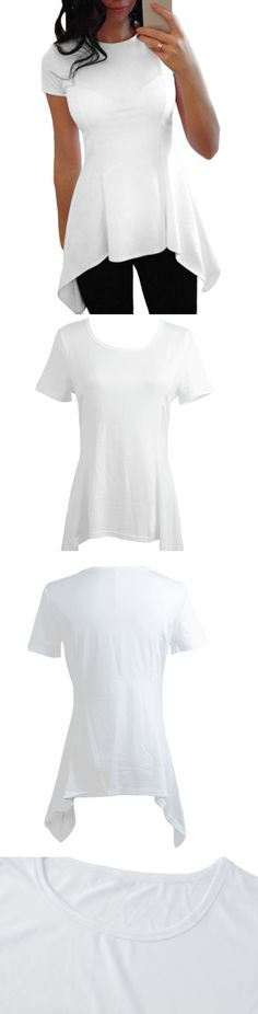 Asymmetrical Hem White! Click The Image To Buy It Now or Tag Someone You Want To Buy This For. #WhiteTops
