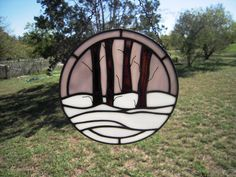 Stained Glass Winter Scene Suncatcher. $40.00, via Etsy.  For the front door!