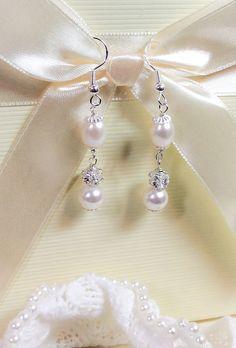 Freshwater pearl, 925 silver, swarovski pearl and diamante, bridal, bling, vintage style, teardrop pearl, bride, bridesmaid wedding favour by dazzlejewellery1 on Etsy