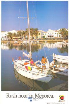 Menorca, Balerares, Spain. Cartel de #turismo de España del año 1986 via #Viajology