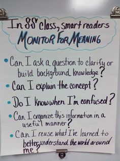 """Monitoring for Meaning"" Anchor Chart"
