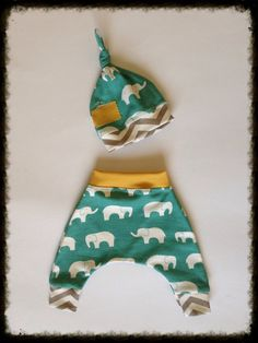 ORGANIC Elephant & Chevron Baby Boy Harem Pants With Knot Hat • Size Newborn (going home)