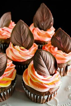 Leaves Chocolate Leaves are a fun & a delicious way to top your festive fall cakes & cupcakes this season.Chocolate Leaves are a fun & a delicious way to top your festive fall cakes & cupcakes this season. Cupcake Recipes, Dessert Recipes, Baking Recipes, Mini Cakes, Cupcake Cakes, Thanksgiving Cupcakes, Cupcakes Fall, Fall Wedding Cupcakes, Turkey Cupcakes