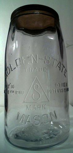 OLD HG GOLDEN STATE MASON FRUIT JAR BOTTLE  AMETHYST S.F. CAL. SUPER NICE LID