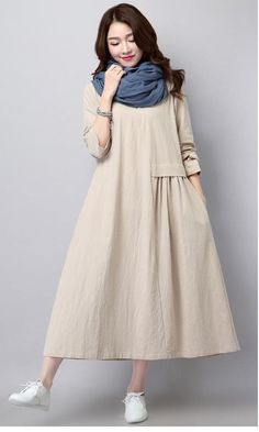 Linen Dress Literary Solid Color Pleated Fashion Long Sleeved Loose Large Size Casual Women's New Spring And Autumn Muslim Fashion, Hijab Fashion, Boho Fashion, Fashion Dresses, Gothic Fashion, Mode Abaya, Mode Hijab, Simple Dresses, Casual Dresses