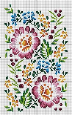 Cross stitch or crochet flowers Cross Stitch Borders, Modern Cross Stitch Patterns, Cross Stitch Charts, Cross Stitch Designs, Cross Stitching, Cross Stitch Embroidery, Embroidery Patterns, Hand Embroidery, Cross Stitch Flowers Pattern