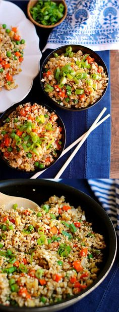 "HEALTHY RECIPES CAULIFLOWER FRIED RICE | Making this for sure! I do have a question though. Once you get the ""rice"" is it freezable either before cooking or after the recipe is made? I love to have some prepared meals on hand, plus I freeze excesses if we have leftovers. Ingredients were on my list yesterday for shopping so I have the o... #Cauliflower, #Delicious, #FoodRecipes, #FriedRice, #HealthyRecipes"