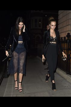 Kendall Jenner and Cara Delevingne. Lace outfits
