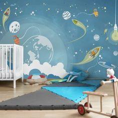 wallpaper - non-woven wallpaper - Colorful space drifting - Wall mural porridge - Wallpaper Ideas Kids Room Murals, Kids Room Paint, Boys Room Decor, Nursery Wall Decor, Baby Decor, Kids Bedroom, Kids Room Wallpaper, Children Wallpaper, Wallpaper Ideas