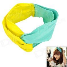 ShiYing F02062 ve stylu Retro Turban čelenka - zelená + žlutá Health Shop, Turban Headbands, Retro Fashion, Yellow, Green, Beauty, Style, Beleza, Cosmetology