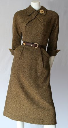 Fabulous original 1950's tweed dress by Pat Hartly.