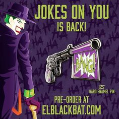 #Repost @elblackbat  New and improved Joker product!Jokes on You is back by popular demand and in a new color. Preorder it for $10 from my store elblackbat.com  #pin #pins #enamelpin #enamelpins #hatpin #hatpins #lapelpin #lapelpins #pingame #pingamestrong #pinstagram #pinsofig #pinbadge #pincommunity #pincollector #pintrader #villain #elblackbat #joker #batman #dccomics #gotham #jokergun    (Posted by https://bbllowwnn.com/) Tap the photo for purchase info.  Follow @bbllowwnn on Instagram…