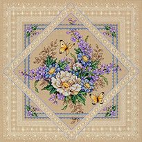 "Cross Stitch - Flowers And Lace Counted Cross Stitch Kit - 14""X14"""