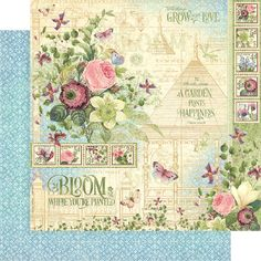 Graphic 45 BLOOM Tags /& Pockets Die Cuts Flower Garden Spring Mixed Media