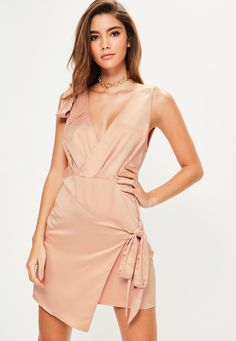 slip into silky and amp up your evening game wearing this cream shift dress - featuring a tie front, wrap over details and shoulder tie. Prom Dresses 2018, Dresses Uk, Dance Dresses, Cute Dresses, Summer Dresses, Formal Dresses, Future Clothes, Most Beautiful Models, Maxi Styles