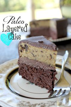 A layer of chocolate cake, a layer of chocolate chunk cake, and a buttercream frosting-and it's paleo too! Woot woot!