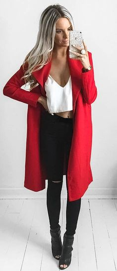 what to wear with a red coat : white top + rips + boots