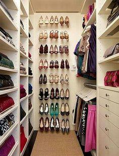Walk in closet -- shoe storage idea