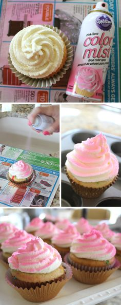Katie, Darling!: Pink Cupcakes using Wilton's Color Mist!