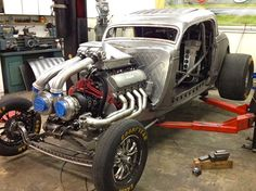 No need to apologize for all the plumbing, this twin-turbo big-block looks perfectly appropriate for a coupe that has the potential to run under eight seconds at the drag strip. Vw Rat Rod, Rat Rods, Drag Bike, Garage, Sweet Cars, New Engine, Drag Cars, Unique Cars, Twin Turbo