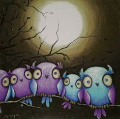 Owl art: Family Owls O10 by Monique Chalker