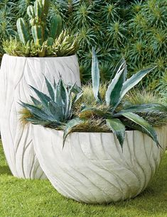 Handcrafted from reconstituted natural stone and resin, this planter boasts beautiful, textural detailing that evokes images of waving prairie grass. Built to weather year-round exposure, our planters bring a stylish statement wherever they are placed.
