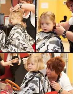 Miss Linda helped transform this young lady from tousled curls to a beautiful bob.  Girl's First Haircut at Junior Cuts (kids hair salon) in Milford, OH (Cincinnati).