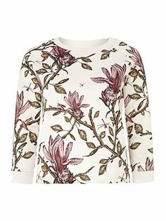 Long sleeve jersey floral top