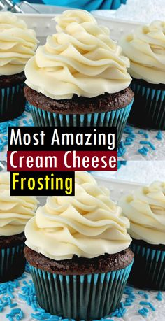Most Amazing Cream Cheese Frosting - Dessert & Cake RecipesYou can find Cream cheese frosting and more on our website.Most Amazing Cream Cheese Frosting - Dessert & Cake Recipes Cream Cheese Buttercream Frosting, Strawberry Cream Cheese Frosting, Cheesecake Frosting, Chocolate Cream Cheese Frosting, Cake With Cream Cheese, Lemon Buttercream, Buttercream Icing, Best Icing For Cupcakes, Red Velvet Frosting