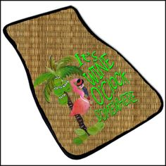 Flamingo wine and Happy Palm Tree Art Car Mat set of 2 by maremade, $69.99