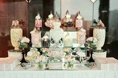 That's why we love the idea of a candy table at your reception. Done right, a candy buffet doubles as a delicious favor and an eye-catching part of your décor. Lolly Buffet, Candy Buffet Tables, Dessert Buffet, Dessert Tables, Cake Table, Chic Wedding, Wedding Table, Wedding Ideas, Wedding Pins