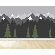 Union Rustic Gradient Mountains Wall Decal Size: H x Mountain Bedroom, Mountain Mural, Mountain Nursery, Mountain Paintings, Mountain Decor, Mountain Crafts, Boy Room Paint, Boys Room Paint Ideas, Cool Boys Room