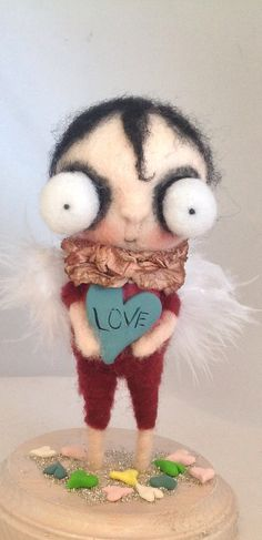 Sweet CUPID needle felted ooak art doll by papermoongallery, $69.00