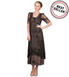 Nataya 40007 Titanic Dress in Black/Coco, the new titanic line by Nataya, the classic empire silhouette dress for vintage style affairs