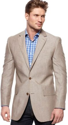 Linen Jacket    (Michael Kors Solid Linen Blazer in Brown for Men (tan)(